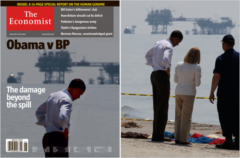 The Economist cover before and after