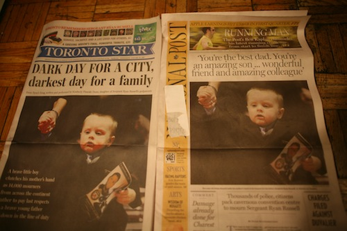 Toronto Star and National Post the day after Russell's funeral.