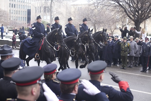 Sgt. Russell's funeral procession. Photo by Dana Lacey